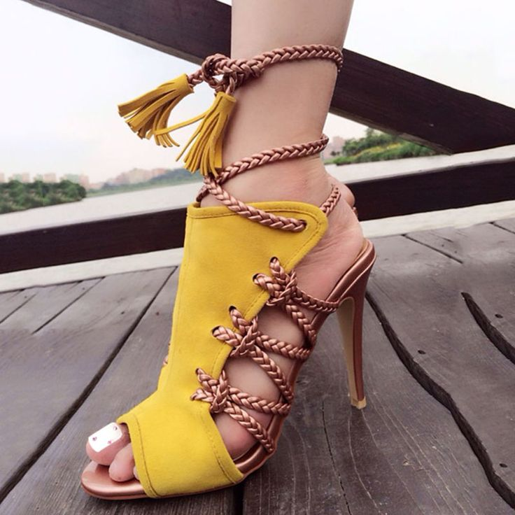 Shoespie Plait Lace Up Sandals