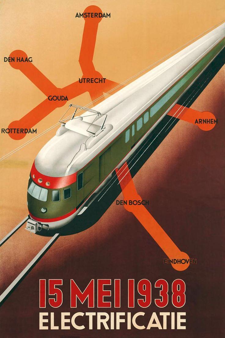 Affiche electrificatie, 1938 | Emmanuel Gaillard (Spoorwegmuseum Utrecht) Deze affiche is ter gelegenheid van de voltooiing van de elektrificatie van het zogenaamde middennet van de NS gemaakt. De belangrijkste steden, met Utrecht als middelpunt, werden hierdoor met elkaar verbonden.