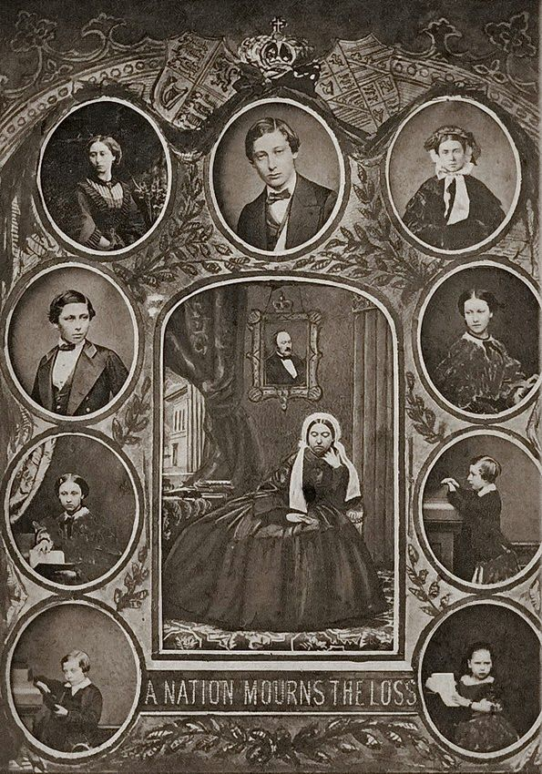 Queen Victoria and her 9 children, mourning the death of Prince Albert (1861). Photo collage (photographer unknown)