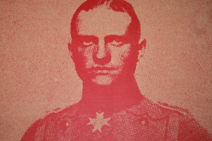 Red Baron Manfred von Richtofen Antique Poster vintage WWI era Poster