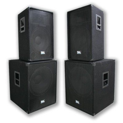 "Seismic Audio - Pair of 15"" PA DJ SPEAKERS 18"" SUBWOOFERS PRO AUDIO - Band, Bar, Wedding, Church by Seismic Audio. $749.99. Pair of 15"" Mains and 18"" Sub WoofersPackage #: SA-15TPKG4 SpeakersModel - SA-15T  (Set of 2)Woofer - 15"" 2 way with a 50oz magnet and a 2.5"" kapton voice coil350 Watts RMS - 700 Watts PeakWired at 8 ohms45Hz - 20KHz Sensitivity: 96 dbTweeter: 1.5"" Titanium driver with 10z. magnet and 1"" throatCrossover: 12/18db per octave 3000hz high powe..."