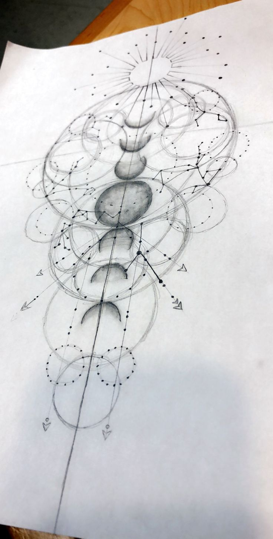 Fun Geometric Galaxy with family astrological constellations. – jillian springar