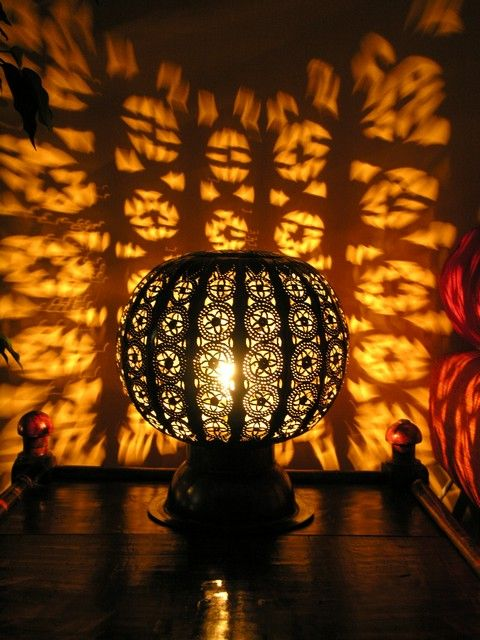 Moroccan pierced metal table lamp. http://www.maroque.co.uk/showitem.aspx?id=ENT05495&p=01570&n=all