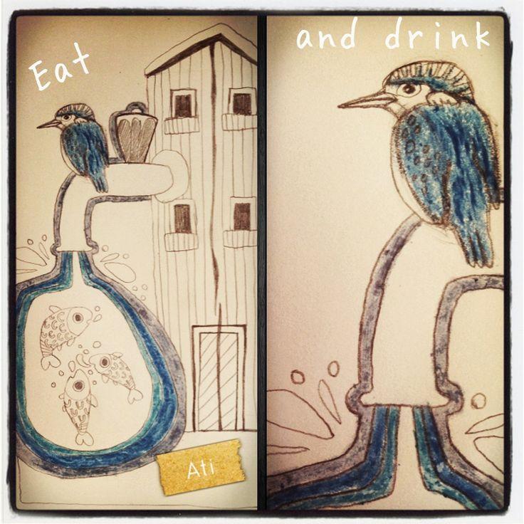 Kingfisher 'Eat and drink'... From my sketchbook. Sketch/illustration for bigger artwork by Ati van Twillert.