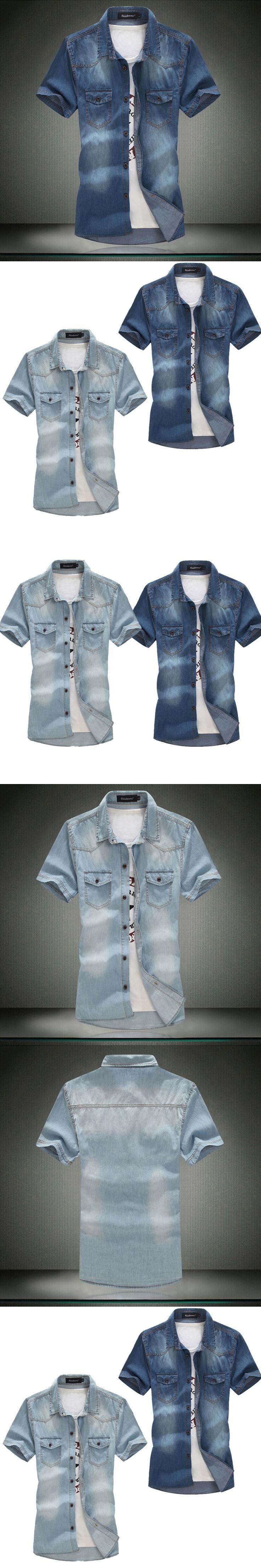 Plus Size!Denim Men 2015 New Men Jeans Shirts Water Washing Male Tops Short Sleeve Flower Solid Denim shirt For Men M-6XL