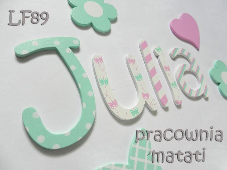 matati, drewniane literki, literki na ścianę, drewniane dekoracje, julia