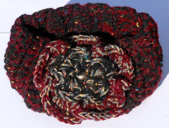 Hand Crocheted Red and Black Ear Warmer Headband by TSCrocheted, $15.50
