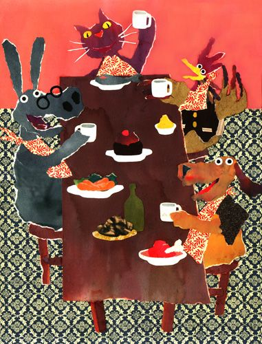 "lustik:    The Musicians of Bremen - "" All at the table ! "" Torn Paper Collage - Sergio Masala- www.sergiomasala.com"