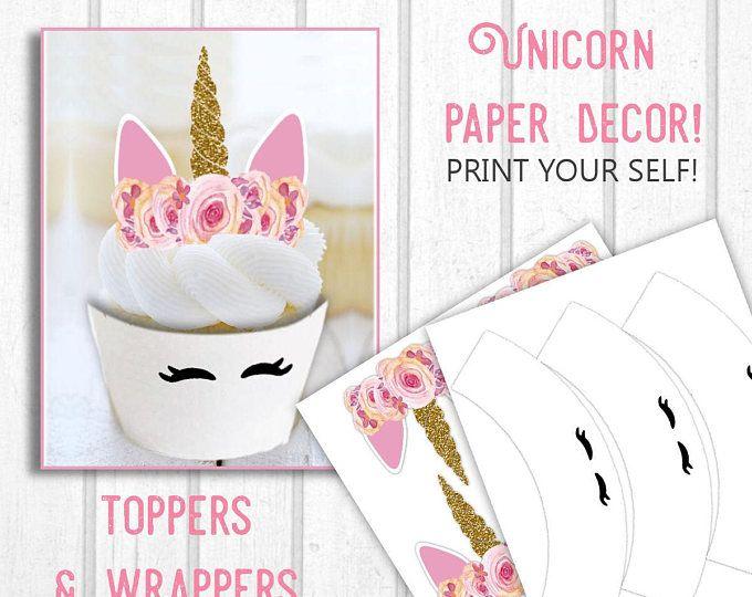 Printable Unicorn Cupcake Toppers And Wrappers Unicorn Print Outs Unicorn Party Decor Di Unicorn Cupcakes Toppers Unicorn Cupcakes Cupcake Toppers Printable
