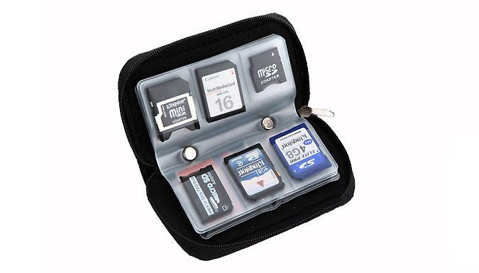Buy Memory Card Case for just £3.99 Keep your memory cards safe in this Memory Card Case      Suitable for SD / mini, SD / micro, SD / SDHC / MMC / XD and CF cards      Case has a total of 8 semi-transparent frosted bags; holds 22 cards      18 slots for (mini / micro) SD / SDHC / MMC / XD cards and the Sony Memory Stick Pro Duo      4 large slots for CF cards, Smart Media, Micro Drive or...