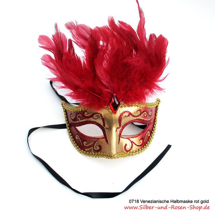 Venezianische Halbmaske rot gold