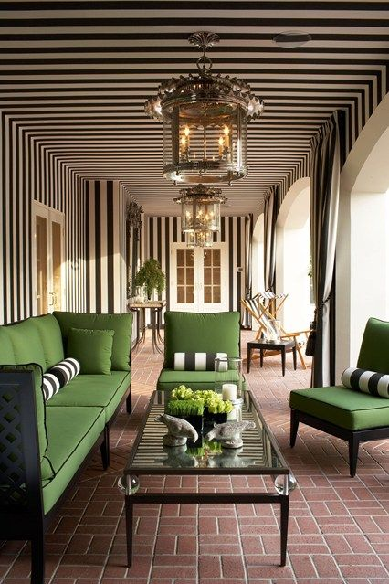 Discover garden room design ideas on HOUSE - design, food and travel by House & Garden. Graphic stripes evoke a bygone Hollywood era in this stylish loggia.