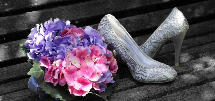 Bride, Shoes, Bouquet, Pink, Purple, Hydrangea, Married