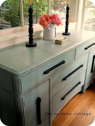 Love the color painted on this buffet by The Modern Cottage. It's BM Covington Blue