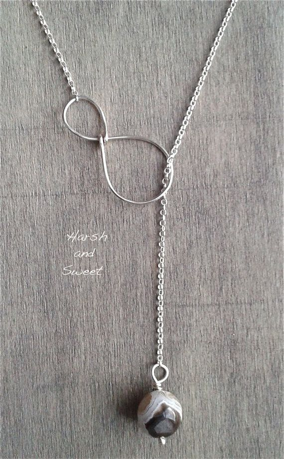 nice Y necklace with agate bead, handmade in wire wrapped recycled sterling silver and Botswana agate, eco-friendly jewelry