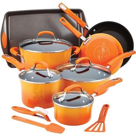 http://www.cadecga.com/category/Rachel-Ray-Cookware/ Rachael Ray Hard Enamel Non-Stick 14-Piece Cookware Set was a surprise from my husband the summer of 2014 and I love every piece with the exception of the scrubber/peeler.
