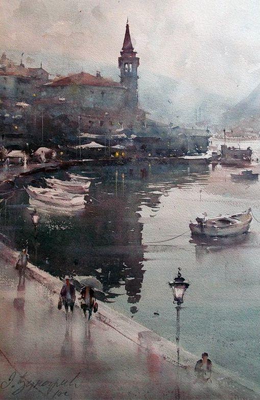 | Giornata di pioggia a Perast (35x55 cm) [by Dusan Djukaric]