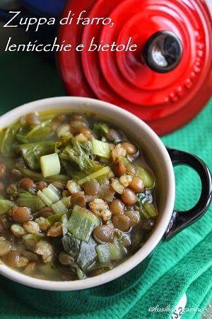 """Minestra di farro, lenticchie e bietole - Ricetta tratta dal blog di Natalia:""""http://fusillialtegamino.blogspot.it/"""" - Mini cocotte in gres smaltato colore nero e ciliegia @LeCreusetItalia #food #cucina #ricetta #lenticchie #zuppe #bietole #farro #soup"""