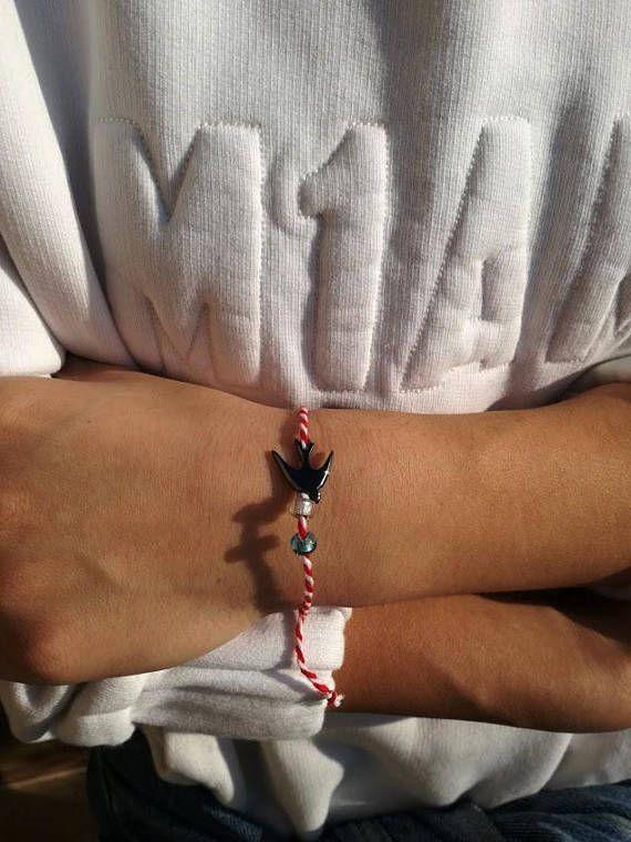 Swallow March bracelet, cotton cord March bracelet, red white bracelet, Greek folklore bracelet, unisex March bracelet with swallow charm