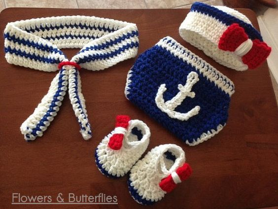 WORLDWIDE FREE SHIPPING 4pcs Navy Sailor Chrocheted Newborn Baby Photo Prop Photography Props Navy Sailor Photo Props Baby Boys Photo Props by FlowersButterflies15 on Etsy