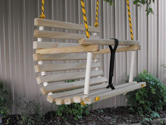 Childs swing Toddlers swing wooden rope tree swing with white rope