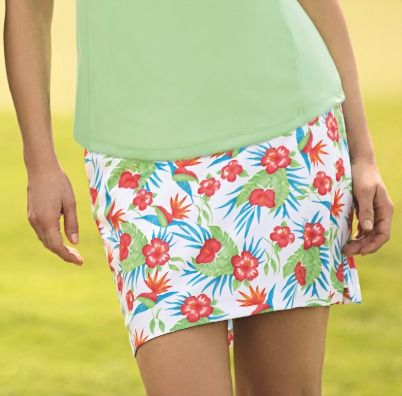 Check out what #lorisgolfshoppe has for your days on and off the golf course! Essential White Greg Norman Ladies Tropical Print Knit Golf Skort