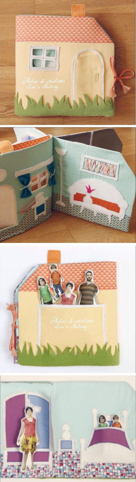 Love this quiet book idea. Your real family turned into dolls for your house. Album en tissu en forme de maison et personnalisable grâce aux effigies amovibles de la famille imprimés sur du tissu et rembourrées.