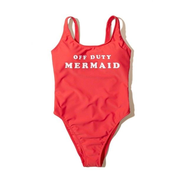 Hollister Graphic High-Leg One-Piece Swimsuit ($40) ❤ liked on Polyvore featuring swimwear, one-piece swimsuits, red, 1 piece bathing suits, print one piece swimsuit, scoop back swimsuit, one-piece swimwear and low-back one-piece bathing suits