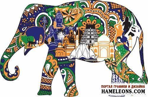 Красочные декоративные индийские символы для дизайна - векторный клипарт | Indian symbols for design
