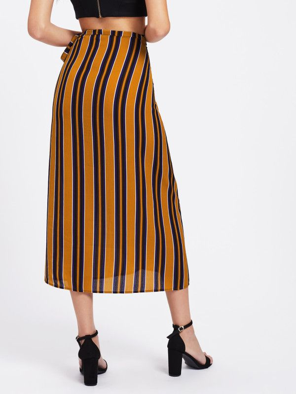 Shop Vertical Striped Tie Detail Wrap Skirt online. SheIn offers Vertical Striped Tie Detail Wrap Skirt & more to fit your fashionable needs.