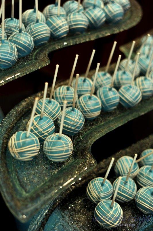 turquoise white cake pops