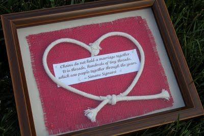 "cool anniversary gift - it says: ""Chains do not hold a marriage together. It is threads, hundreds of tiny threads, which sew people together through the years."" Love this...."