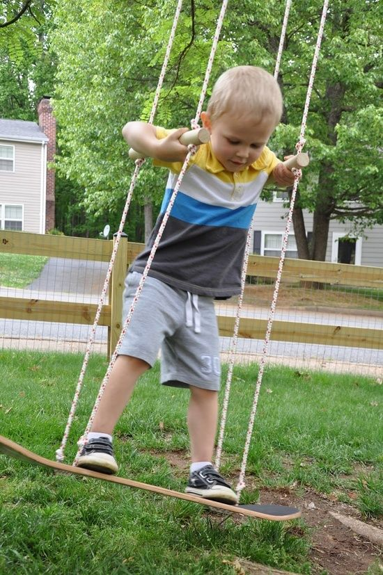 DIY Skateboard Swing by littlebitfunky: 20 minutes with an upcycled skateboard, rope, a wooden dowel and a carabiner! @Chad Cribbins Cribbins Chalos