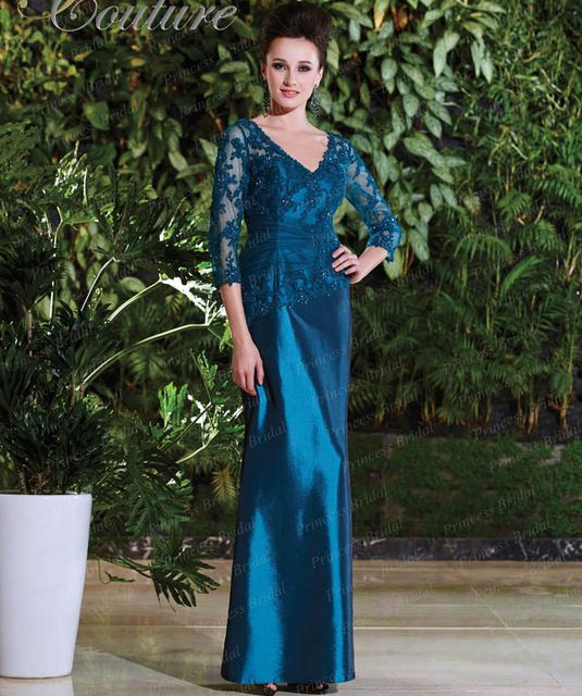 Free Shipping Formal Party Sheath V Neck Floor Length Three Quarter Sleeves Mother Of Bride Dress With Appliques MD037 US $146.08  Click link to buy other product http://goo.gl/p8JMyk