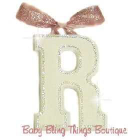 Swarovski Outlined Nursery Wall Letter -- Baby Bling Things Boutique Online Store