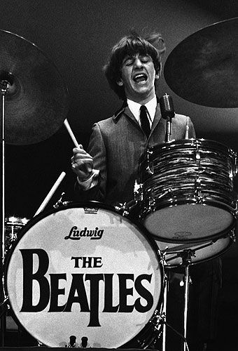 Ringo Starr playing the drums during a 1964 concert at Washington Coliseum.