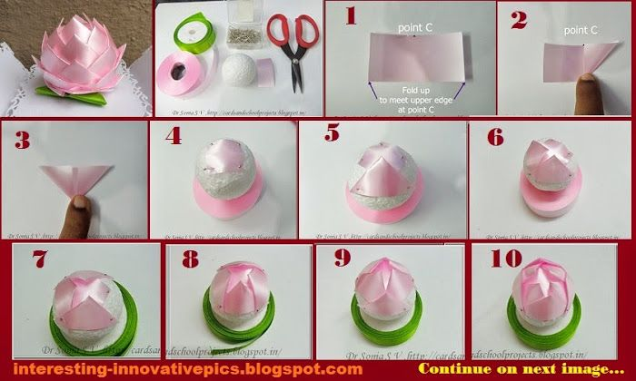 Diy decorative lotus out of thermocol ball best out of for Best out of waste step by step