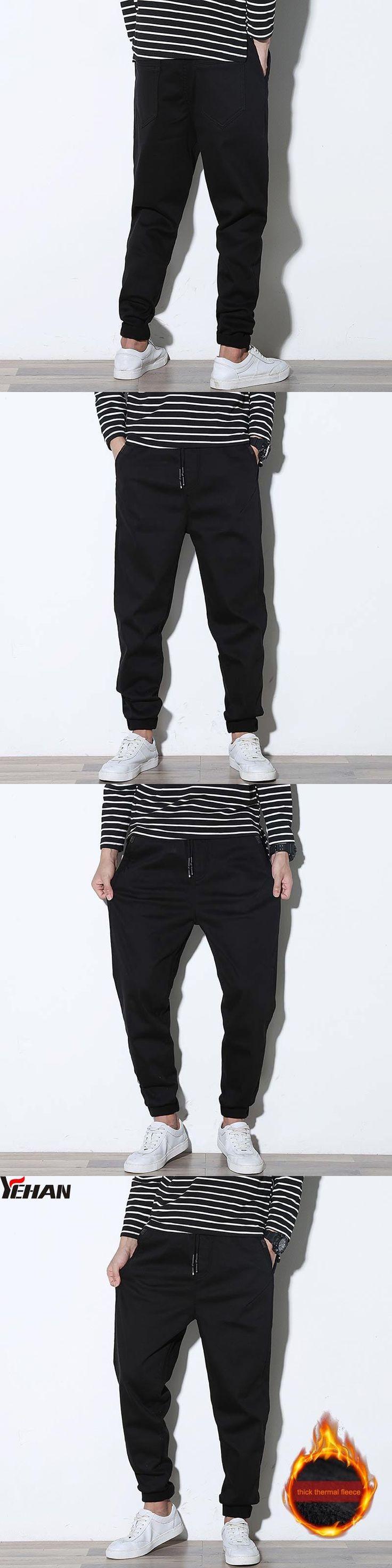 Casual Plus Size Black Cargo Harem Pants For Men Cotton Loose Pants Buttons Hip Hop Trousers Pantalon Homme with fleece