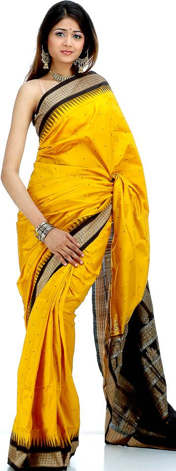 Golden and Black Bomkai Sari (Traditional Wear) from Odisha, India