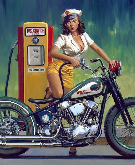 """Vintage HarleyDavidson Ad. """"Full Service""""."""