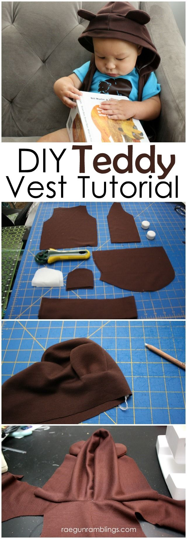 DIY Teddy Vest Tutorial and how to make a pattern in any size fun shirt or costume idea - Rae GUn Ramblings
