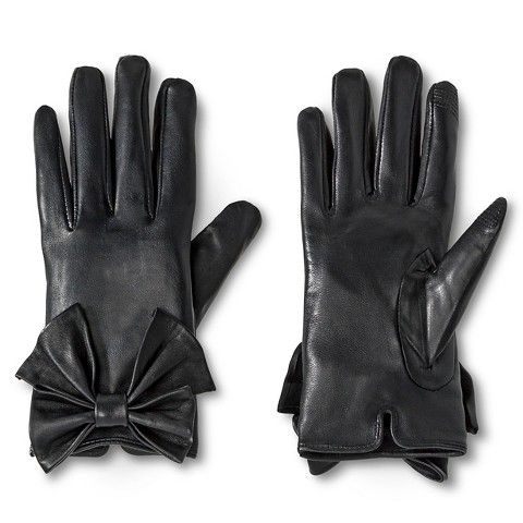 Women's Touch Screen Compatible Sheepskin Leather Gloves with Bow Detail Black - Black