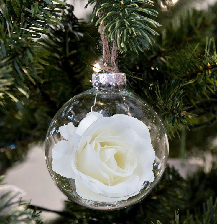 80mm Shatterproof Clear Baubles for Christmas Tree Bauble Filled with Artificial Rose Xmas Ornaments by Art Beauty: Amazon.co.uk: Kitchen & Home