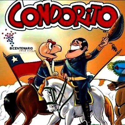 La edición de Condorito para el Bicentenario de Chile, representando en Abrazo de Maipú entre Bernardo O'Higgins y José de San Martín, que selló la Independencia de Chile en 1818.