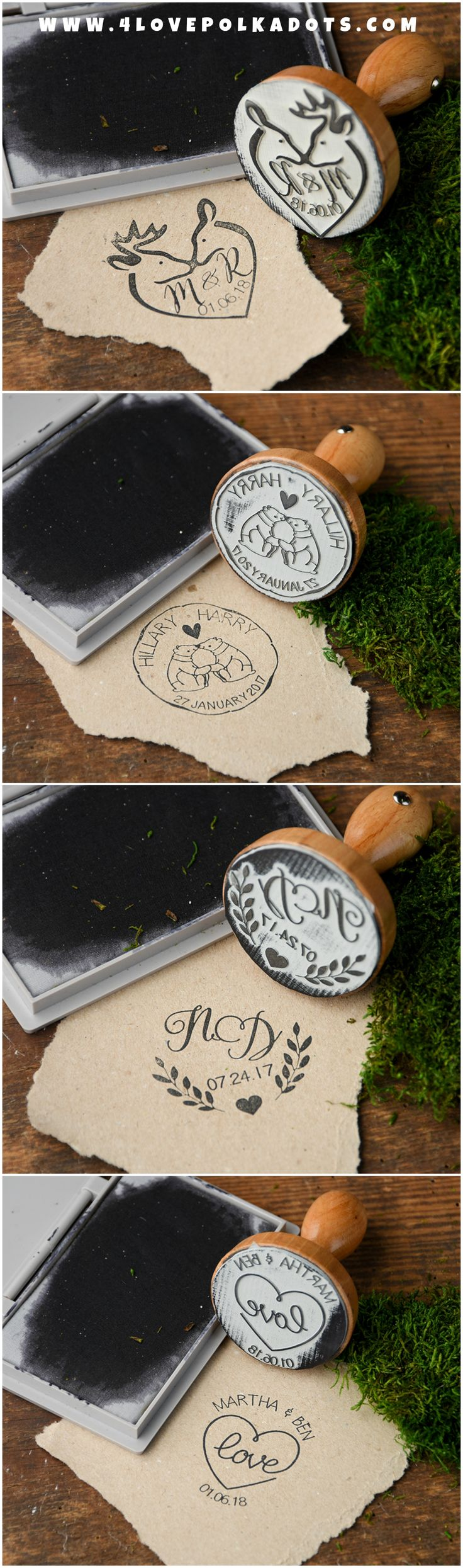 Wooden Wedding Stamps - personalized with names and wedding date #wood #rustic #wooden #weddingideas #stamps #rusticwedding #country