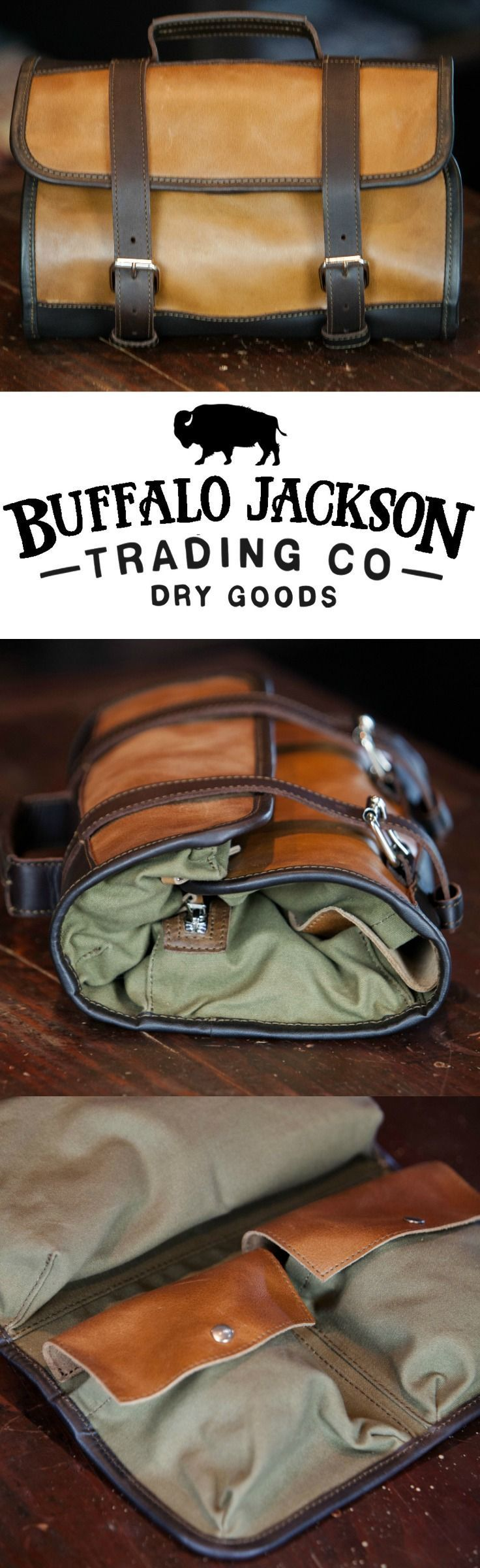 Men's Leather and Waxed Canvas Hanging Travel Kit Bag | Toiletry Bag | Dopp Kit for Men | Shaving Kit | Travel Bag