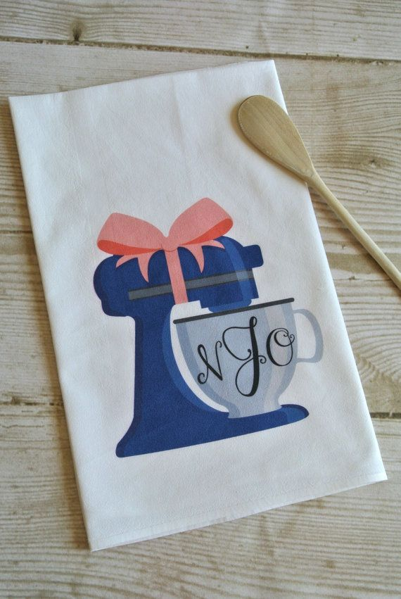Personalized Monogram Mixer Flour Sack Tea Towel, Bridal Shower Gift, Bridal Shower Idea, Monograms and Mimosas