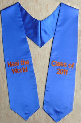 Royal Blue Two Side Embroidered Graduation Stole