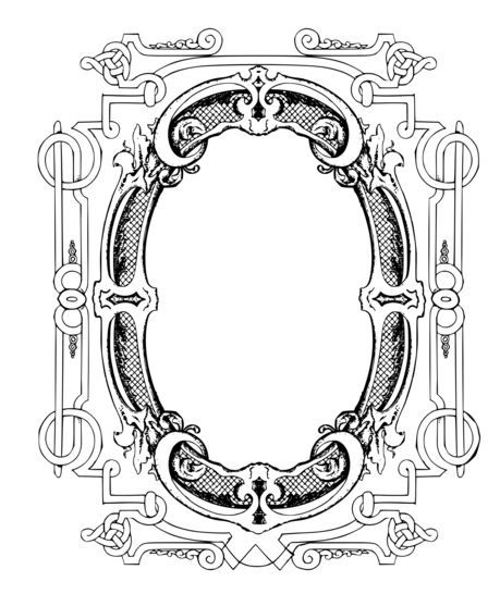 Antique Frame Adult Coloring Add An Initial Or Picture