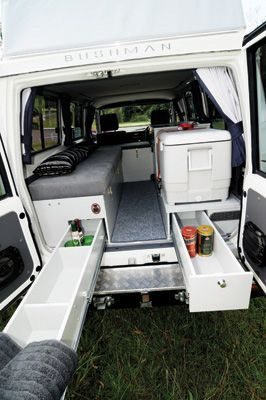 Inside the Landcruiser poptop: